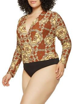 Plus Size Printed Faux Wrap Bodysuit - 3924069390323