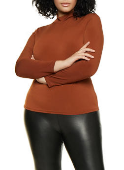 Plus Size Long Sleeve Mock Neck Top - 3924069390332