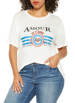 Plus Size Amour Graphic Tee - 3924069390361