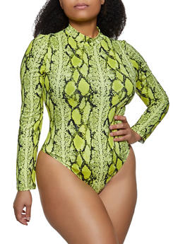 Plus Size Snake Print Soft Knit Bodysuit - 3924069390398