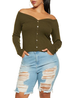 Plus Size Rib Knit Off the Shoulder Top - 3924069390474