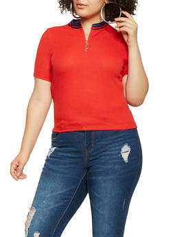 Plus Size Ribbed Knit Zip Front Top - 3924069390489