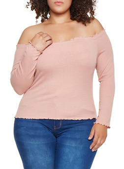 Plus Size Ribbed Knit Off the Shoulder Top - 3924069391038