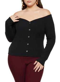 Plus Size Ribbed Off the Shoulder Button Detail Top - 3924069391044