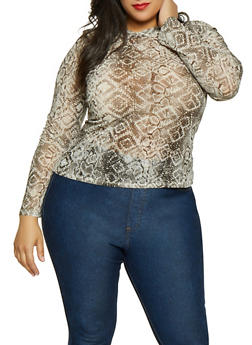 Plus Size Snake Print Mesh Top - 3924069391047