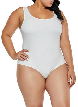 Plus Size Sleeveless Ponte Knit Bodysuit - 3924069391071
