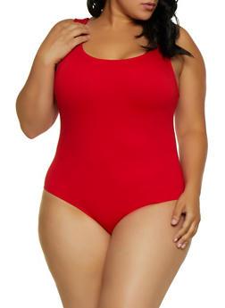 Plus Size Sleeveless Ponte Knit Bodysuit - 3924069391071