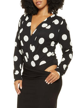 Plus Size Polka Dot Faux Wrap Bodysuit - 3924069391242