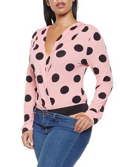 Plus Size Polka Dot Faux Wrap Bodysuit - 3924069391242