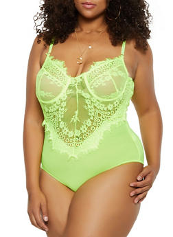 Plus Size Keyhole Back Lace Thong Bodysuit - 3924069391347