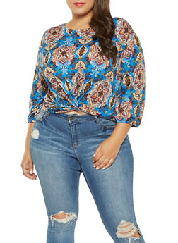 Plus Size Printed Twist Front Top - 3924069392020