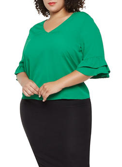Plus Size Crepe Knit Tiered Sleeve Blouse - 3924069392276