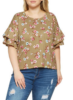 Plus Size Printed Tiered Sleeve Top - 3924069392397