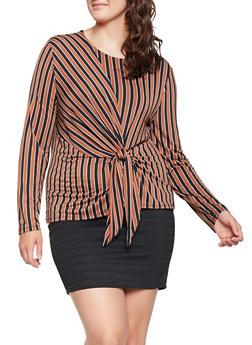 Plus Size Striped Tie Front Top - 3924069392543