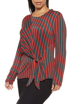 Plus Size Striped Tie Front Top - 3924069392543