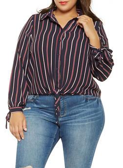 Plus Size Striped Tie Front Shirt - 3924069392653