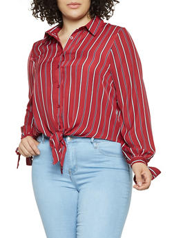 Plus Size Striped Tie Front Shirt - 3924069392653