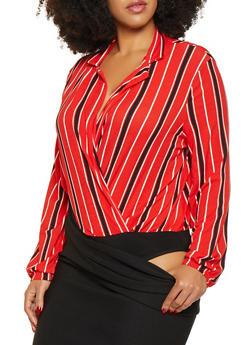 Plus Size Striped Faux Wrap Bodysuit - 3924069392725