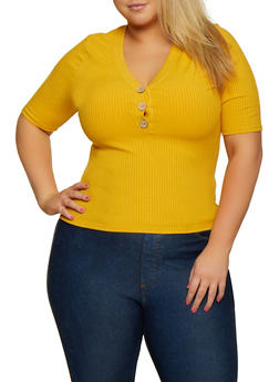 Plus Size Ribbed Button Neck Top - 3924069392761