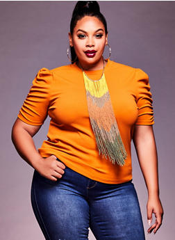 Plus Size Crepe Ruched Sleeve Top - 3924069392825