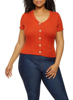 Plus Size Button Ribbed Knit Top - 3924069393509