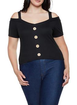 Plus Size Cold Shoulder Button Top - 3924069393547