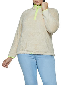 Plus Size Contrast Trim Faux Fur Sweatshirt - 3924069393599