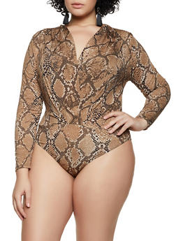 Plus Size Snake Print Long Sleeve Bodysuit - 3924069393704