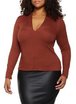 Plus Size Ribbed Knit V Neck Top - 3924069393751