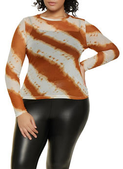 Plus Size Tie Dye Mesh Long Sleeve Tee - 3924069393778