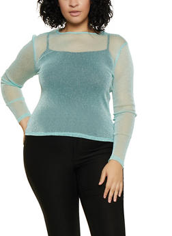 Plus Size Lurex Mesh Top - 3924069393887