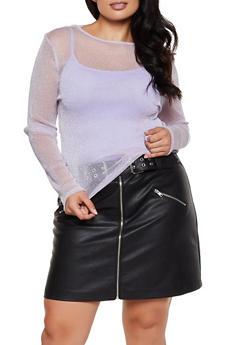 Plus Size Lurex Mesh Top - 3924069393887