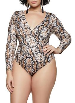 Plus Size Snake Print Faux Wrap Bodysuit - 3924069395456