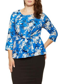 Plus Size Printed Tie Front Top - 3924069396080