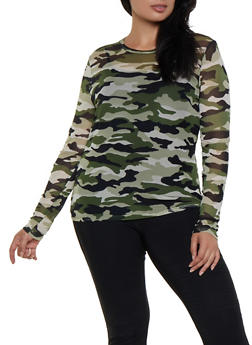 Plus Size Camo Long Sleeve Mesh Tee - 3924069396778