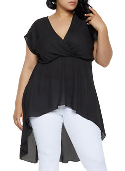 Plus Size High Low Faux Wrap Top - 3924072240775
