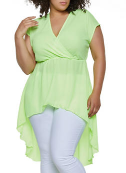 af2bd33c Plus Size High Low Faux Wrap Top - 3924072240775