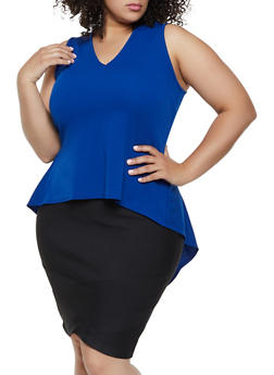 Plus Size Textured Knit High Low Ruffle Top - 3924072240864