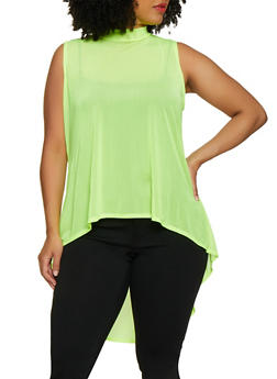 Plus Size Mesh High Low Top - 3924072240892