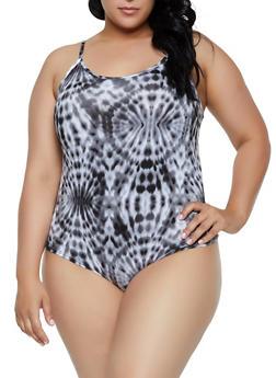 Plus Size Tie Dye Cami Bodysuit - 3924072241082