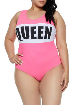 Plus Size Soft Knit Queen Bodysuit - 3924072241087