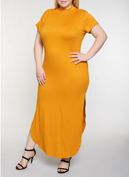 Plus Size Soft Knit T Shirt Maxi Dress - 3924072249803