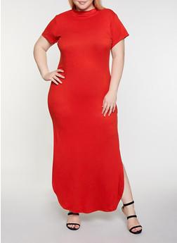 Plus Size Soft Knit T Shirt Maxi Dress - 3924072249803