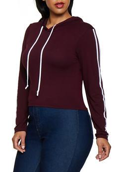 Plus Size Varsity Stripe Soft Knit Hooded Top - 3924072290013