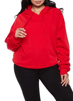 Plus Size Hooded Fleece Sweatshirt - 3924072290282