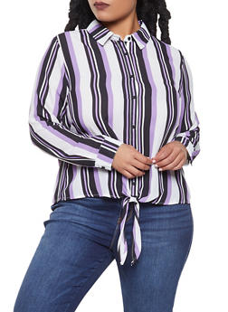 Plus Size Striped Tie Front Shirt - 3925054210142