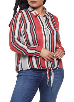 Plus Size Striped Tie Front Shirt - 3925054211442
