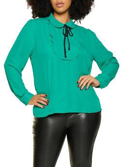 Plus Size Ruffle Trim Blouse - 3925054211487
