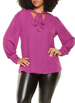 Plus Size Tie Neck Blouse - 3925054212400