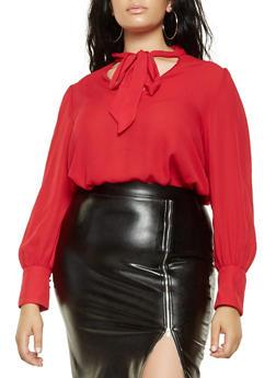Plus Size Tie Neck Blouse - 3925054212400
